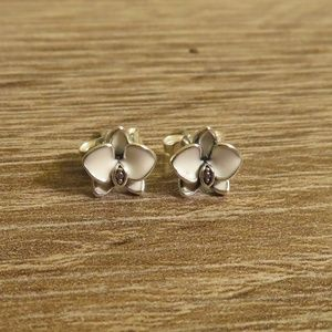 Pandora Orchid Sterling Silver Earrings
